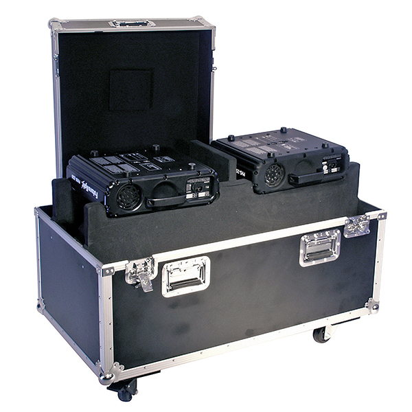 OMNITRONIC Kuljetuslaatikko kahdelle Moving Headille, pyörillä. Professional flight case for 2x PHS-250/PHW-250, with castors