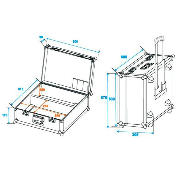 OMNITRONIC Kuljetuslaatikko pyörillä ja vetokahvalla Eurolite scannereille 2x TS-150/TS-7/TS-255