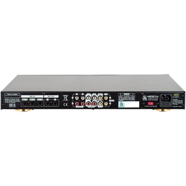 VOCOPRO DA-2200 Professional Digital Key Control/Digital Echo Mixer, Karaoke-mixeri sävelkorkeuden säädöllä ja digitaalisella kaiulla!Kun liität tämän ammattitason karaoke-mixerin jo olemassa olevaan DVD, CD+G, LD tai CD soittimeesi ja väännät vielä vahvistimesi volumen kaakkoon, niin karaokesi siirtyy aivan uuteen ulottuvuuteen! 11 askeleinen digitaalinen sävelkorkeuden säätö. Digitaalinen kaiku repeat and delay säädöillä. 2 stereo audio+ video sisääntuloa mahdollistaa kahden erillisen ääni- ja kuvalähteen käytön (esim. DVD ja Video).  Musiikin basso, treble ja äänenvoimakkuus säädöt. 6 mikki sisäänmenoa kolmella eri äänenvoimakkuuden säädöllä. Mikrofoneille päävoimakkuus, basso ja treble säädot.  Kaiku on/off kytkin kolmelle mikkikanavalle.