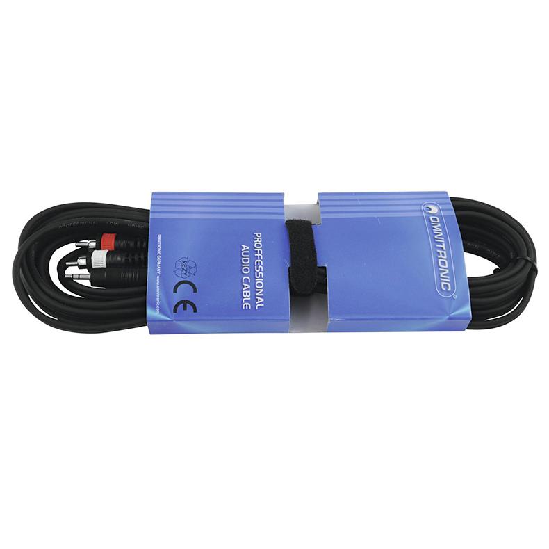 OMNITRONIC Mini Plugi-RCA-adapterikaapeli 1,5m, Jack Plug 3,5mm stereo - 2 x RCA. Toimii esimerkiksi adapterikaapelina MP3-soittille, eli niin sanotusti AUX-kaapeli. AUX-15