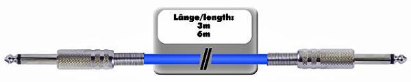 OMNITRONIC KC-60 Cable Jack Plug 6,3mm to Jack Plug 6,3mm mono, 6,0m, blue