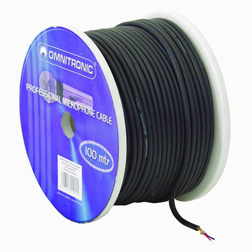 OMNITRONIC 0.22mm² mikrofonikaapeli kaksi johtoa + suojamaa, musta 100m