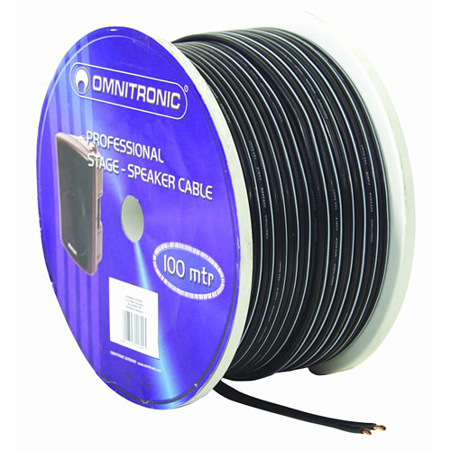 OMNITRONIC Speaker flat cable black 2x4.0 mm²/100m
