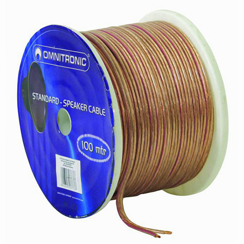 OMNITRONIC Studio speaker cable, kaiutinkaapeli, 100m, rulla, 2x4,0mm² transparent/ 100m