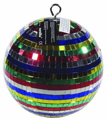 EUROLITE Multicolored mirror ball 20cm, discoland.fi