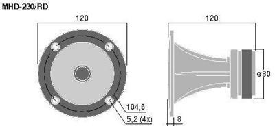 MONACOR MHD-230/RD Torvi tweeter, tehonkesto 80W Max, impedanssi 8ohm , mitat halkaisija 120mm, sekä paino 0,9kg.