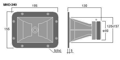MONACOR MHD-240 Torvi tweeter, tehonkesto 80W Max, impedanssi 8ohm, mitat 120x 157 mm sekä paino 1,0kg.