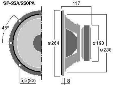 MONACOR SP-25A/250PA 10