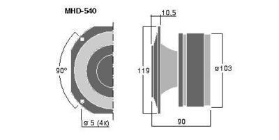 MONACOR MHD-540  Professional PA ring radiator, 100W Max, 8ohm