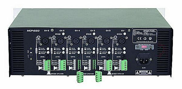 OMNITRONIC MCP-6150 6x 150W monikanava pääte 4ohms on erittäin laadukas monikanavapääte. Ideaalinen usean kaiuttimen ratkaisuihin. Jokaiselle kanavalle oma gain (volume) säädin laitteen takana. Led näytöt kanavakohtaisesti XLR sekä terminaali sisäänmenot. Voidaan ohjata monona joka kanavaan erikseen tai stereona. Terminaalista voi valita vapaasti kanavien ohjaukset. Joka kanavassa limitteri.Mitat 310 x 482 x 132 mm sekä paino 17,5kg.