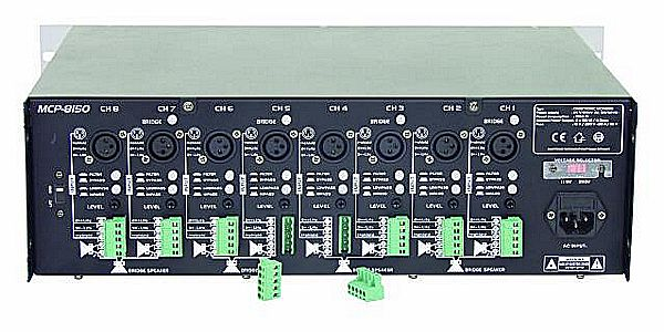 OMNITRONIC MCP-8150 8x 150W 4ohmia monikanavapäätevahvistin, ideaalinen monikanava ratkaisuihin. Jokaiselle kanavalle oma gain (volume) säädin laitteen takana. XLR sekä terminaalisisäänmenot. Voidaan ohjata monona joka kanavaan erikseen tai stereona. Terminaalista voi valita vapaasti kanavien ohjaukset. Joka kanavassa limitteri.