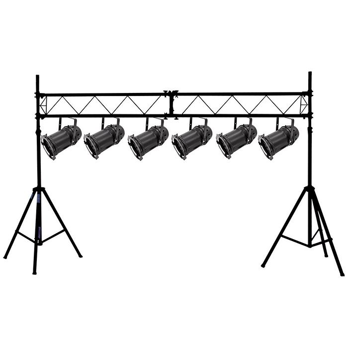 EUROLITE DJ:n keikkavaloteline, joka soveltuu liikkuvalle tiskijukalle tai artistille. Todella nopea ja näppärä kasata. telineet nousevat jopa 2,8m korkeuteen, poikkipalkin leveys 3,0m, kantavuus 25 kg. Telineiden paino on 7,0kg/kpl, koko setin paino on 21kg.