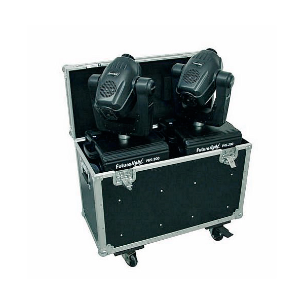 OMNITRONIC Kuljetuslaatikko kahdelle Moving Headille, pyörillä. Professional flight case for 2x PHS-200 Moving Heads, with castors
