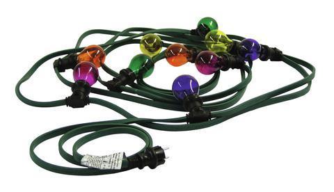 EUROLITE BL-10 E-27 tivolivaloketju värillisillä lampuilla perinteiseen juhlavalaistukseen, 10m, kytkentä kaapeli 1,5m, lamppujen väli 85cm. Mukana 10kpl lamppua. Voidaan käyttää LED- tai energiansäästölamppuja E-27 kannalla. Lamppujen värit sininen, punainen, vihreä ja keltainen.