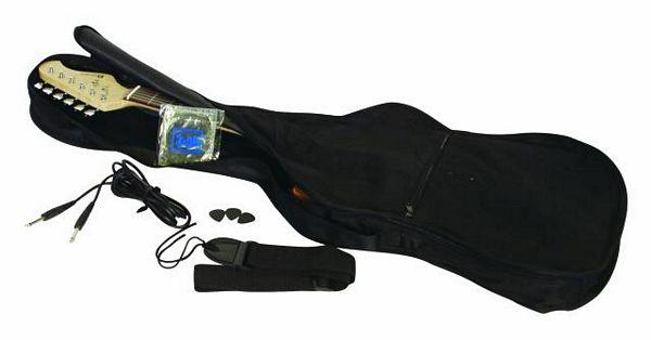 DIMAVERY FV-520 sähkökitara V- muotoilu, väri musta. Pultattu vaahtera runko. Kaula vaahteraa sekä otelauta ruusupuuta. Pickupit 2x Humbacker, kontrollit 2x voimakkuus sekä 1x tone säätö. Metalliosat Kromattuja. Kitaran pinta korkeakiiltoinen lakka, mukana kevyt bagi sekä hihna, 1-setti kieliä, 1- plugi kaapeli sekä setti plektroja