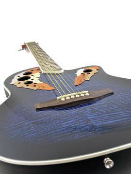 DIMAVERY OV-500 Roundback Ovation style Elektroakustinen kitara, sininen