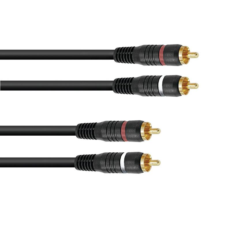 OMNITRONIC RCA-kaapeli 0,3m, 2 x 2 RCA-l, discoland.fi