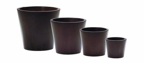 DECO Tin flowerpot  set brown o 55/45/35/25cm