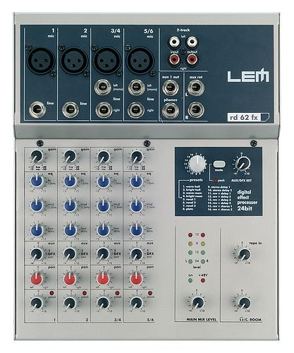 LEM AUDIO RD 62 FX, mikseri, 2xmono+ 2x stereo channels, 4 mic inputs total, 3 band eq, 1x aux send, 24-bit effect module
