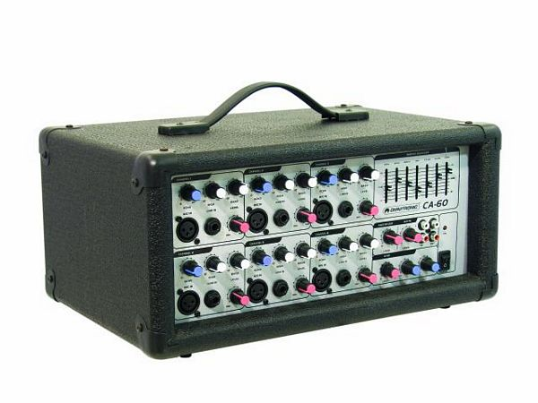 OMNITRONIC CA-60 compact amplifier, 2 x 120 W, 4 Ohms, 6 channel Mic/Line-amplifier, 2-band EQ