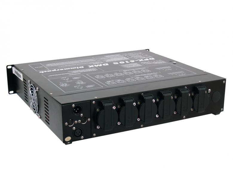 EUROLITE DPX-610S DMX-himmenninpakki 16A voimavirta tai 16A valovirta. Ohjattavaissa DMX-llä tai analogisesti, 6-kanavaa x 2300W, max ulostulo 13800W, suojamaadoitetut pistorasiat