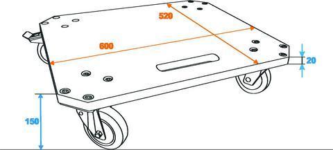 OMNITRONIC Kuljetusalusta MDF neljällä pyörällä (kahdessa jarrut), maximi kuorma 200kg.