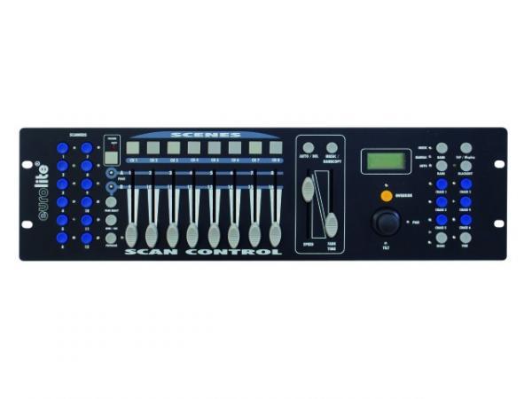 EUROLITE DMX Scan Control 192 Kanavaa, yleismallin DMX ohjain joystickillä varustettuna! Todella näppärä ohjain vaikka scannereille tai pikku headeille. Mitat 483 x 132 x 80 mm  sekä paino 2,5kg.