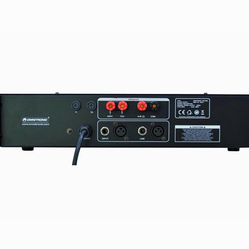 OMNITRONIC PAP-350 100V PA-vahvistin isoihin tilaisuuksiin 350W RMS, Public Address Power Amplifier. Mitat 483 x 385 x 92 mm sekä paino 15,40kg