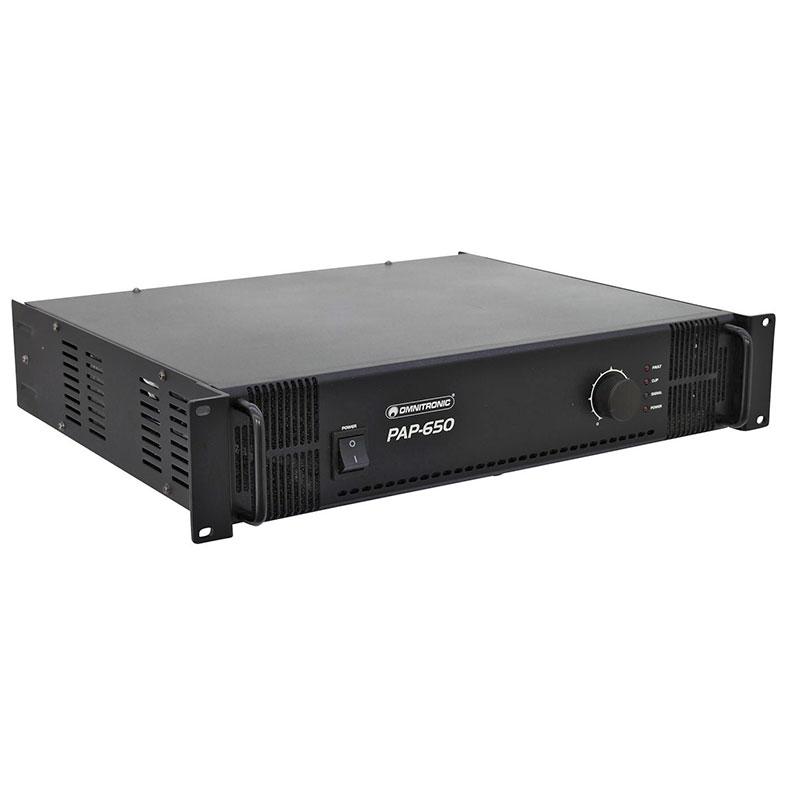 OMNITRONIC PAP-650 PA Vahvistin 100v, 70v sekä 4-16ohm ulostuloille. pa-amplifier 650W RMS, Public Address Power Amplifier. Mitat 483 x 385 x 92 mm sekä paino 18.0kg.