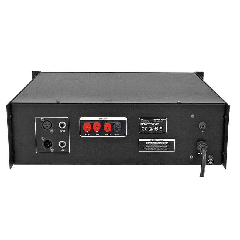 OMNITRONIC PAP-1000 100V PA-vahvistin isoihin tilaisuuksiin 1000W RMS,  Public Address Power Amplifier. Mitat 483 x 385 x 138 mm sekä paino 24,00kg