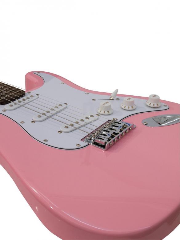 DIMAVERY ST-203 Sähkökitara, vaaleanpunainen. Uusia värejä ja lankun kuviointeja Dimaveryn Stratocaster-malleissa. Erinomainen kitara aloittelijoille, kuin jo vähän pitemmällekin ehtineille soittajille. Tarvitset vain kitaravahvistimen tai USB-interfacen aloittaaksesi soittamisen. Loistava viimeistely sekä maalipinta joka hakee vertaistaan hintaluokassaan. Tuotepaketi sisältää kitaran, plektran, kaapelin vahvistinta varten sekä varakielet!