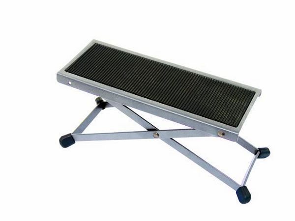 DIMAVERY Footstool for guitar Chrome, discoland.fi