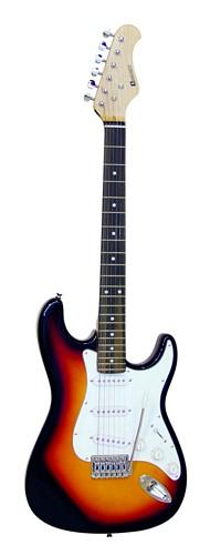 DIMAVERY EGS-10 Sähkökitarasetti Ready to ROCK sunburst 10W vahvistimella ja tarvikkeilla. Setti sisältää: sähkökitaran, kitaravahvistimen, hihnan, virityspiippu, kielisetti, kaapelin kitarasta vahvistimeen, kuljetuskassi, plektroja.
