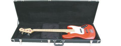 DIMAVERY Puinen laukku sähkö bassolle, universaali 1250x 410x110mm.  Universal Hard-Case for Electric Bass, right-angle