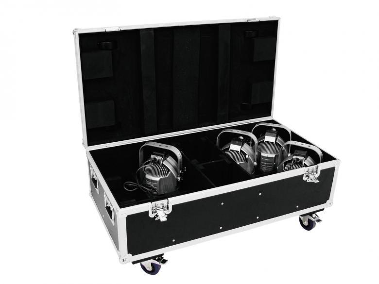 OMNITRONIC Kuljetuslaatikko valoheittimille 8 x ML-56/ML-64, pyörillä. Boxin sisällä kahdeksan lokeroa valonheittimille.