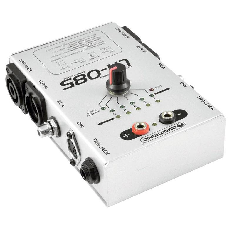 OMNITRONIC LH-085 Kaapelitesteri showtekniseen käyttöön. Sopii liittimiin XLR, Speakon, Din, RCA, Jack Plug 6,3mm. Ideaalinen kun tarvitsee nopeasti testata kaapeleiden toimivuus.