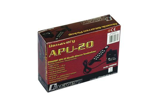 DIMAVERY APU-20/ QH-6A Akustisen kitaran mikrofoni. Voimakkuuden säädöllä sekä sävyn säädöllä. Kaapelin pituus 3,0m sekä ulostulo 6,35mm plugilla. Kotrollit äänenvoimakkus ja tone.