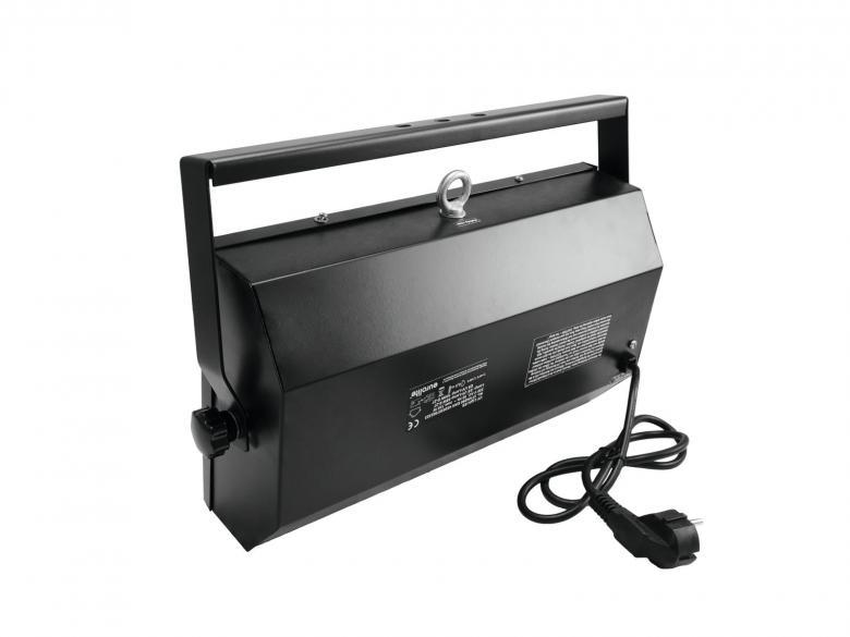 EUROLITE ES105 UV-valaisinrunko 105W UV-energiansäästölampulle, mitat 395 x 200 x 9 mm paino 3kg.