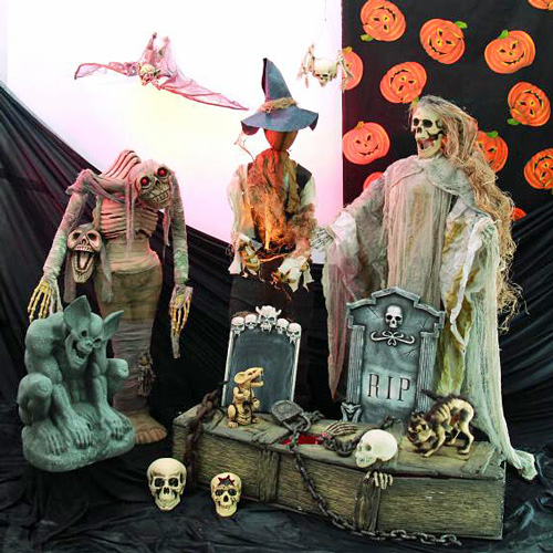 EUROPALMS Halloween LED Tombstone color-changing approx 90 x 50cm