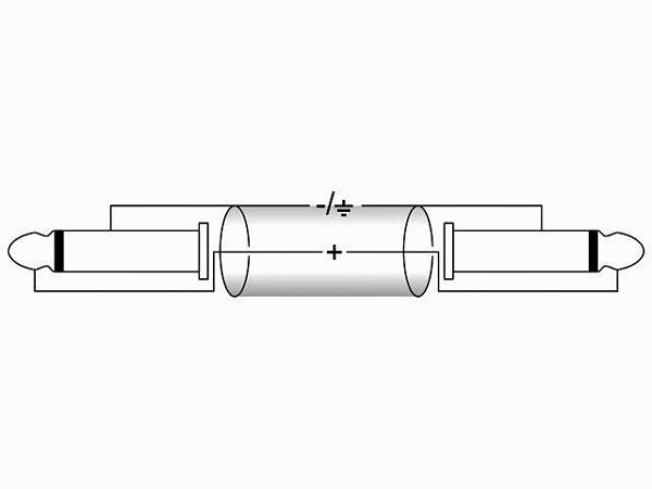 OMNITRONIC Plugi-kaapeli 1m, Jack Plug 6,3mm mono - Jack Plug 6,3mm mono. KC-10