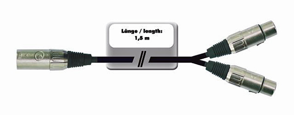 OMNITRONIC XLR-XLR-adapterikaapeli 1,5m, XLR-uros - 2 x XLR-naaras, jakaa XLR-tulon (audio) väri musta. ffm-15