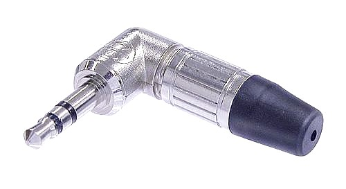NEUTRIK NTP3RC, 3-pole 3.5 mm audio plug, solder termination, chuck type strain relief, bushing, nickel housing, nickel contacts.