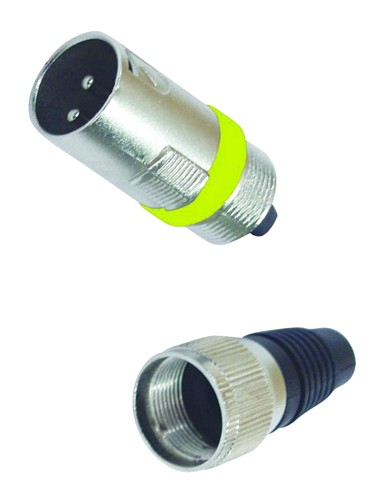 OMNITRONIC XLR-plug, XLR Liitin Uros, keltainen, Lyhyt malli, short, yellow, 3-pins, metal.
