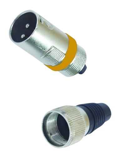 OMNITRONIC XLR-plug short, orange, 3-pins, metal