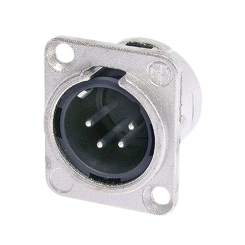 NEUTRIK NC4MD-L-1, 4-pole XLR male receptacle, solder cups, Nickel housing, silver contacts
