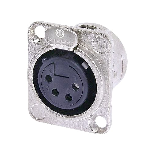 NEUTRIK NC4FD-L-1, 4-pole XLR female receptacle, solder cups, Nickel housing, silver contacts
