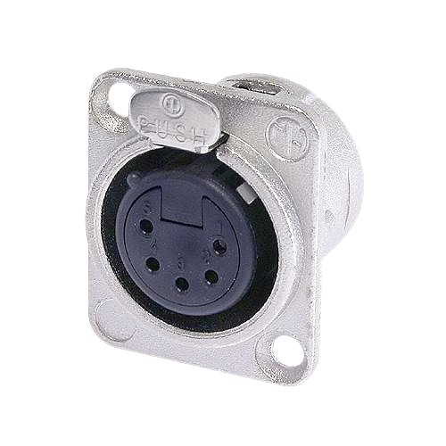 NEUTRIK NC5FD-L-1, 5-pole XLR female receptacle, solder cups, Nickel housing, silver contacts