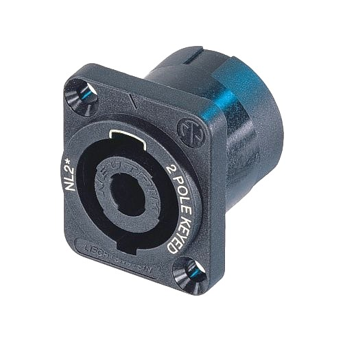 NEUTRIK NL2MP, 2-pole male chassis connector, black D-size flange, countersunk thru holes, 3/16