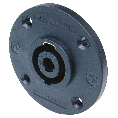 NEUTRIK NL4MPR, 4-pole male chassis connector, black round G-size flange, countersunk thru holes, 3/16
