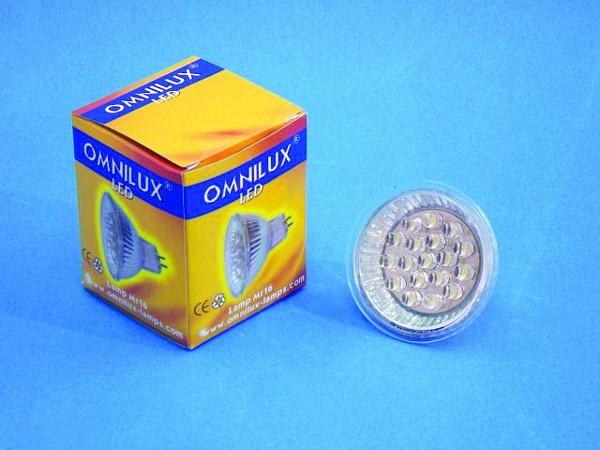 OMNILUX MR-16, 12V, GX-5.3, 18 LED, Warm, discoland.fi